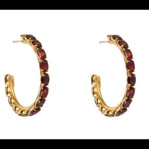 Bounkit Garnet Hoop Earrings